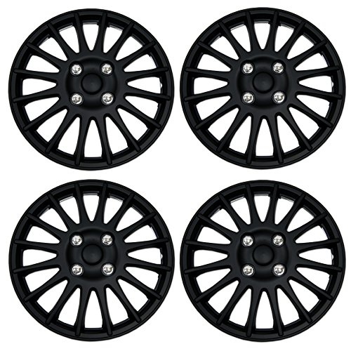 TuningPros WSC3-611B15 4pcs Set Snap-On Type (Pop-On) 15-Inches Matte Black Hubcaps Wheel ()