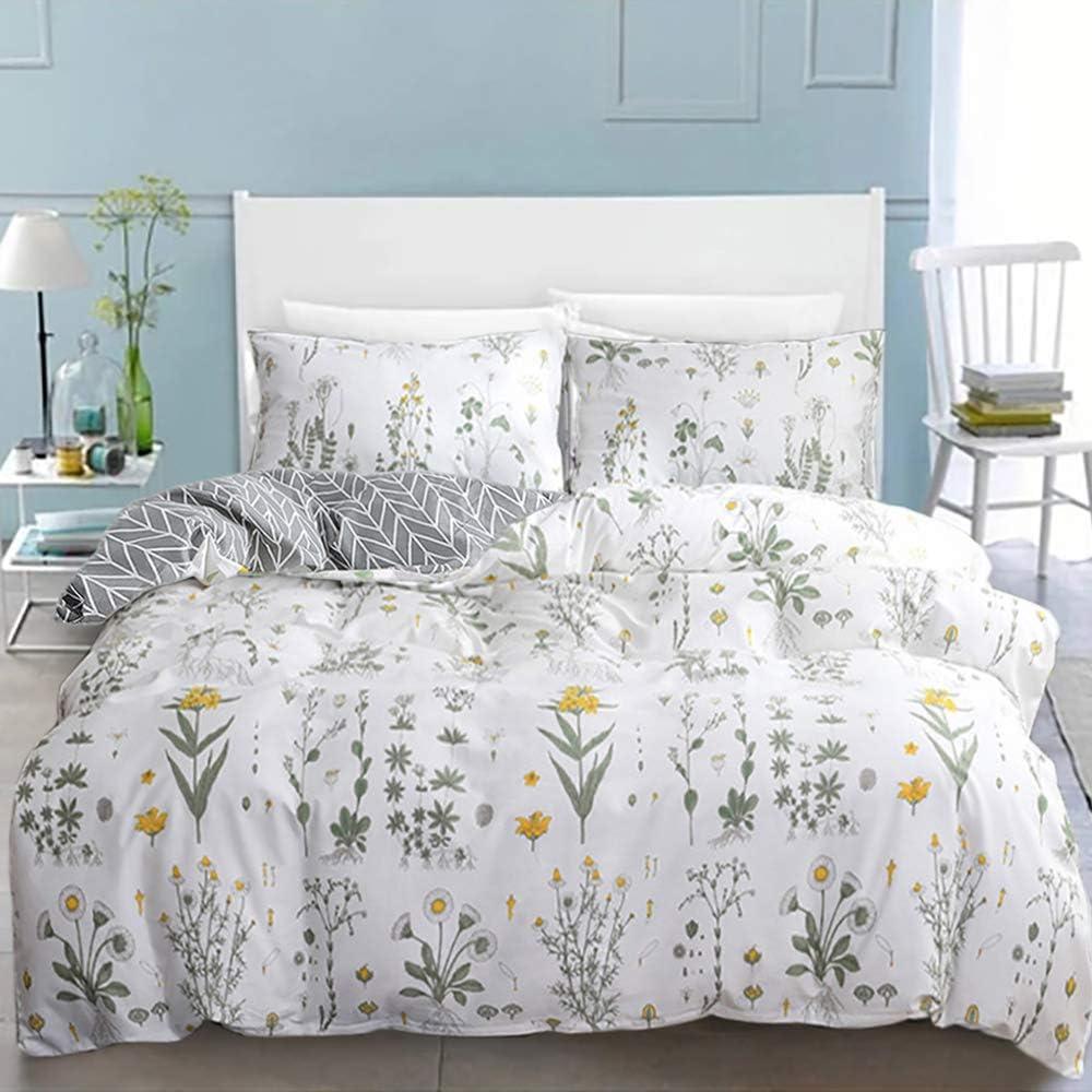 karever Girls Floral Duvet Cover Sets Queen Daisy Flower Botanical Branches Cotton Bedding Full Reversible Grey Chevron Comforter Cover Set for Teen Girl Women