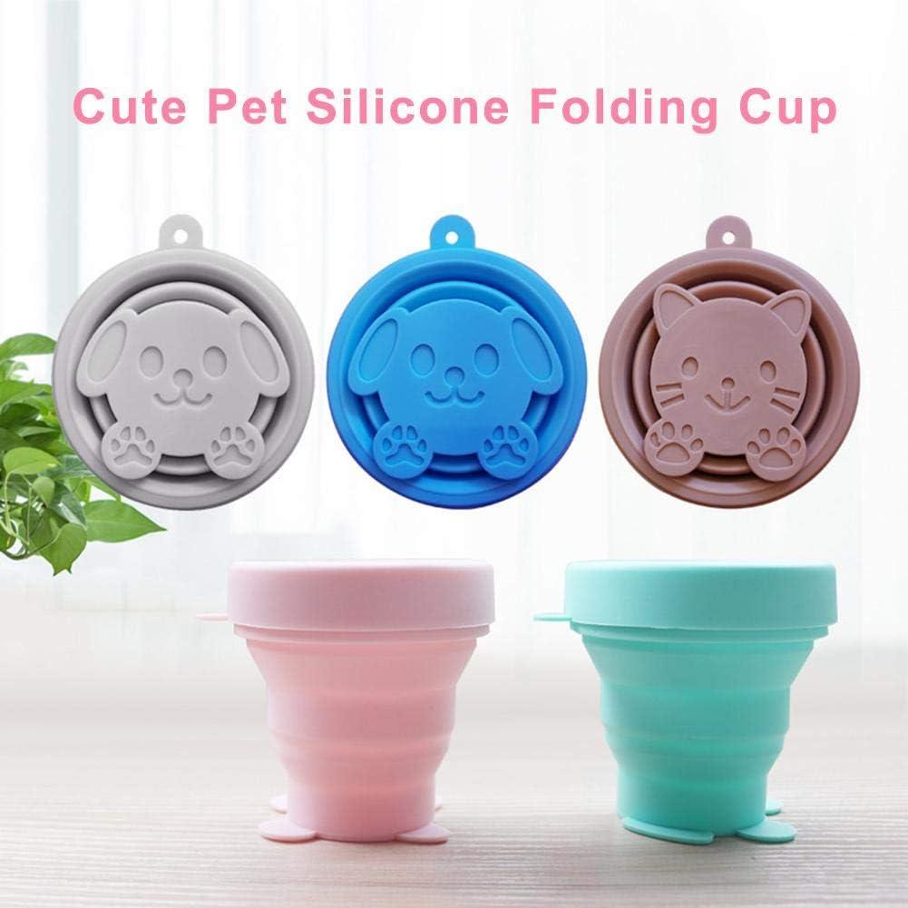 Silikon Faltbare Wasser Cup Faltbare Travel Cup mit Deckel f/ür Camping Wandern Picknick NIC 170ml Cute Outdoor Folding Cup