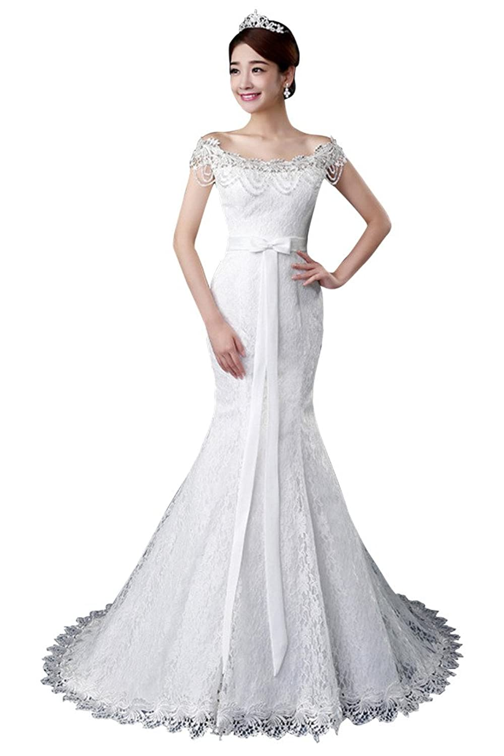 Vimans? Girl's Sexy Long Lace Off Shoulder Mermaid Style Dresses for Wedding