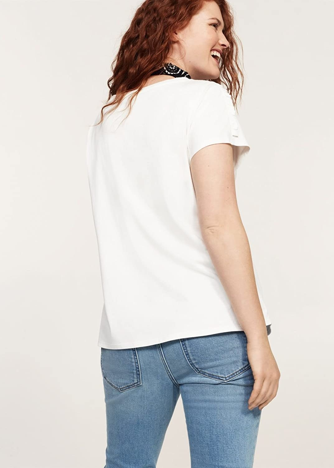 Violeta by MANGO Women's Plus Size Ruched Detail T-Shirt at Amazon Women's  Clothing store: