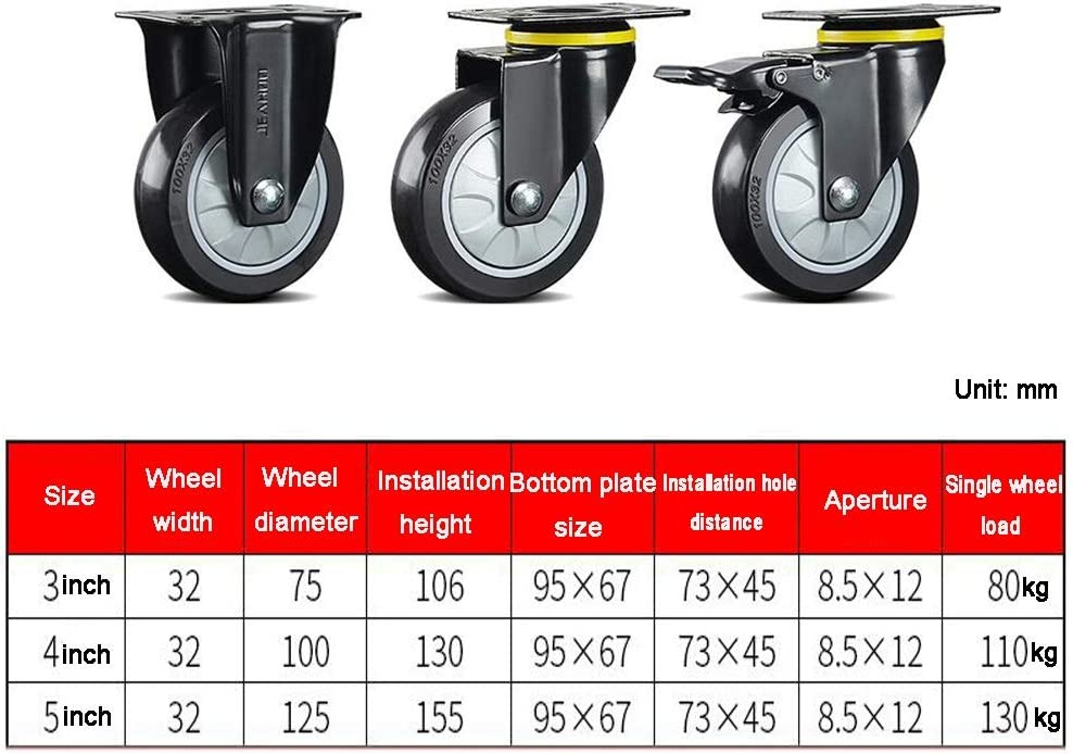 125mm Color : Directional, Size : 5 inch MUMA 75mm Swivel Rubber Caster Wheels 100mm Heavy Duty Furniture Trolley and Industry Wheels