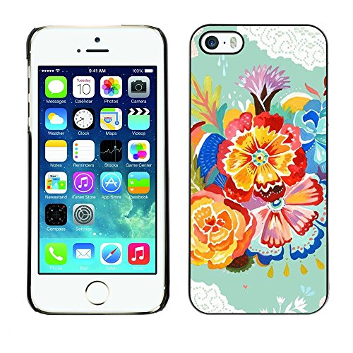 Soft Silicone Rubber Case Hard Cover Protective Accessory Compatible with Apple iPhone? 5 & 5S - flower green crocheted teal watercolor