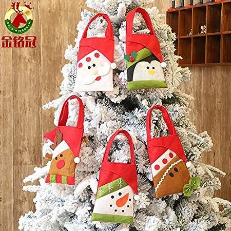 CXMASS 5 Piezas Decoraciones navideñas Bolsa de Regalo de Dibujos Animados creativos decoración de Dulces de Vacaciones para niños Bolsa de Regalo Bolsa de Asas