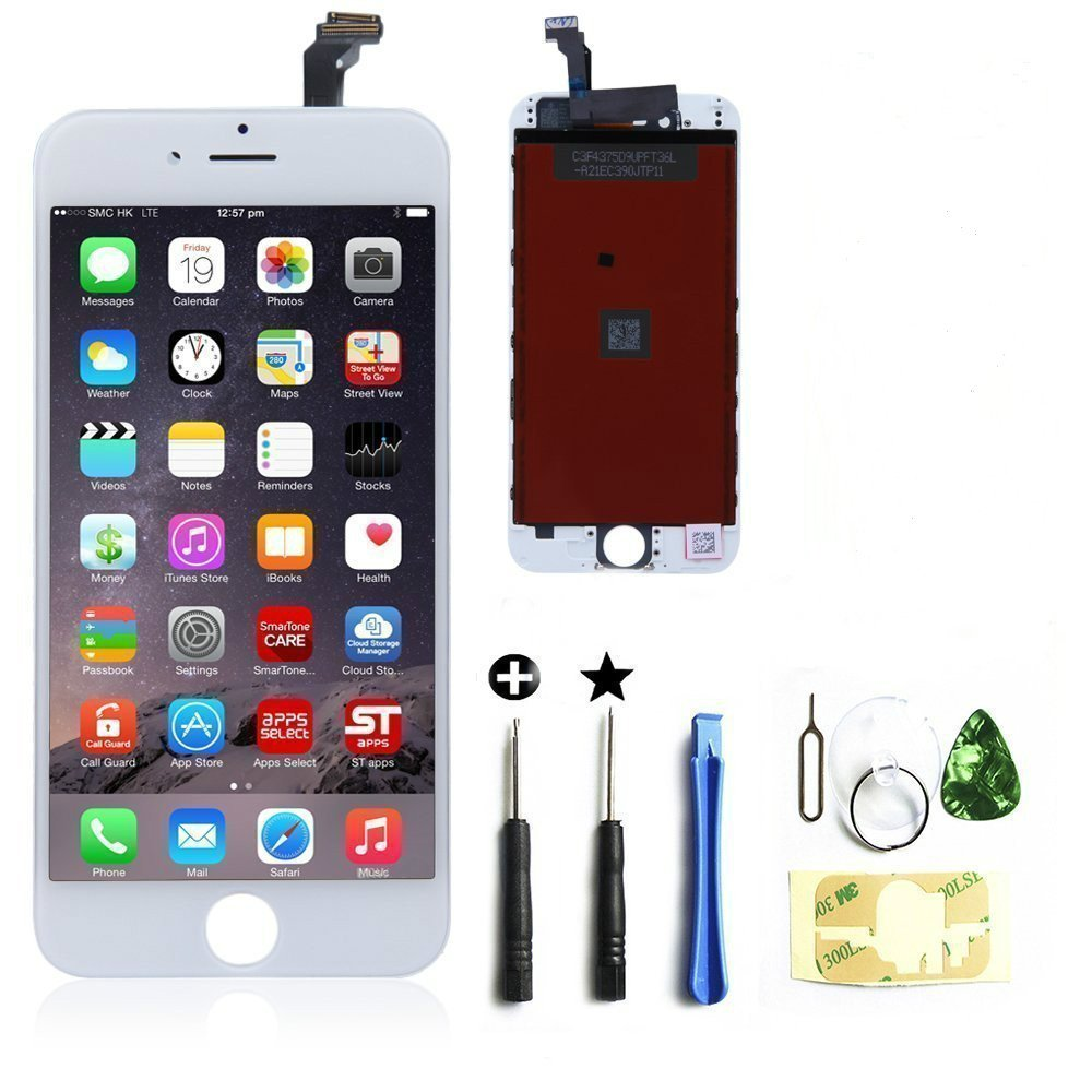 LCD Display & Touch Screen Digitizer Frame Assembly Full Set LCD Touch Screen Replacement for iPhone 6 (4.7 inch) (White)