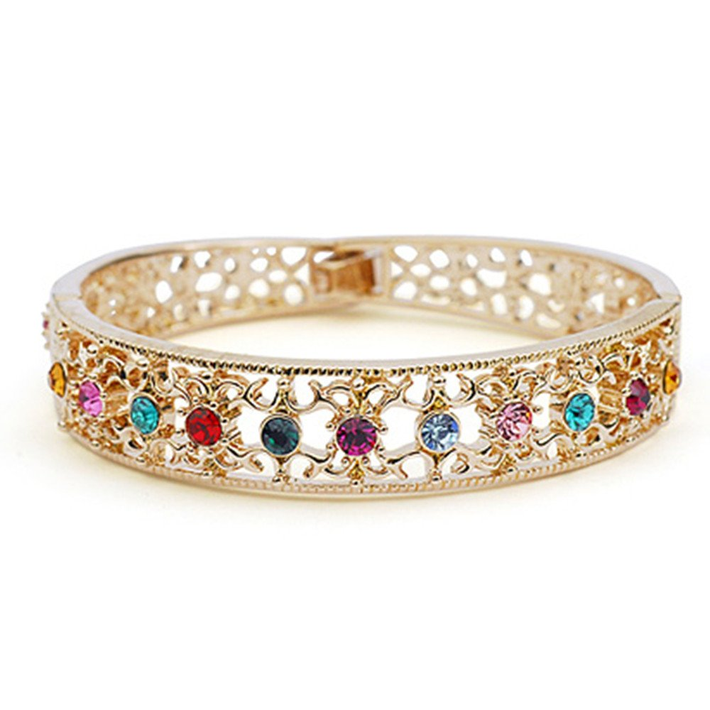 Dazzle flash Bangle Bracelet Multicolor Crystals Tennis Bracelets-BGG091