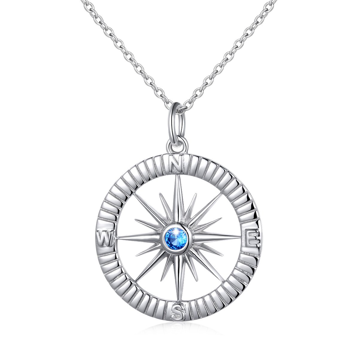 SILVER MOUNTAIN S925 Sterling Silver Compass No Matter Where Bracelet and Pendant Necklace 18'' (necklace A)