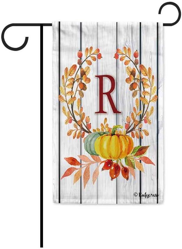 KafePross Tree Leaves Wreath Fall Monogram R Decorative Garden Flag Harvest Pumpkin Autumn Initial Letter Decor Banner for Outside 12.5x18 Inch Print Both Size
