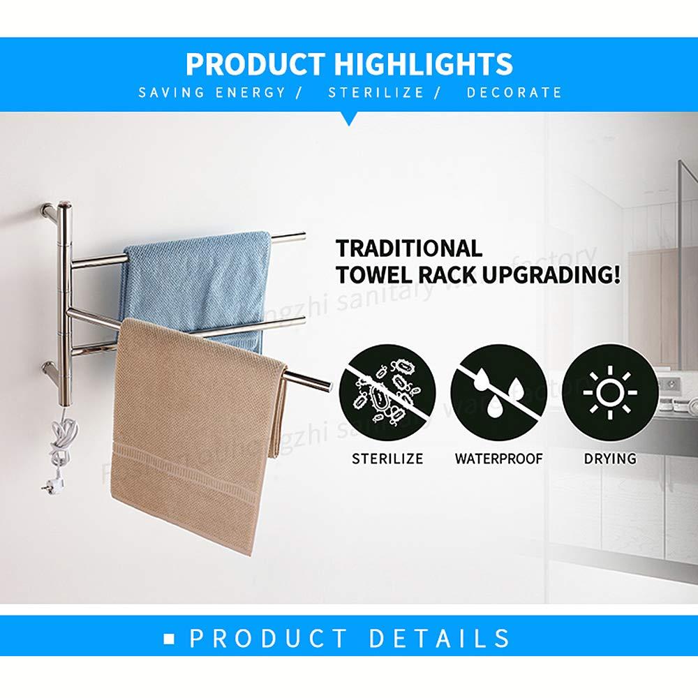 Montaje en Pared Toalla Rack Cuarto de baño tendedero eléctrico Calentador de Toallas eléctrica de Acero Inoxidable baño Toalla Rack Impermeable 3 ...
