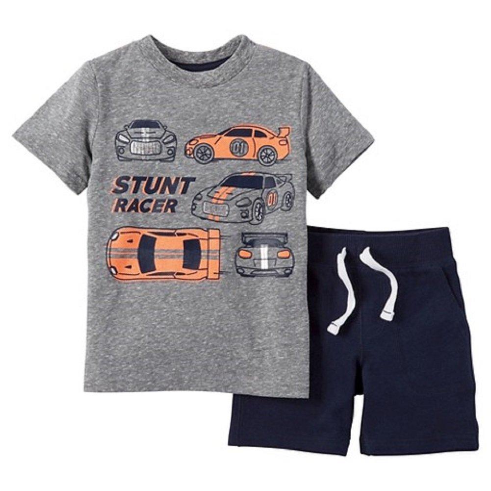 24d6ba088eab Amazon.com  Carter s Just One You Baby Boys  2 Piece Race Car Short Set -  Heather Gray Orange (12 Months )  Clothing