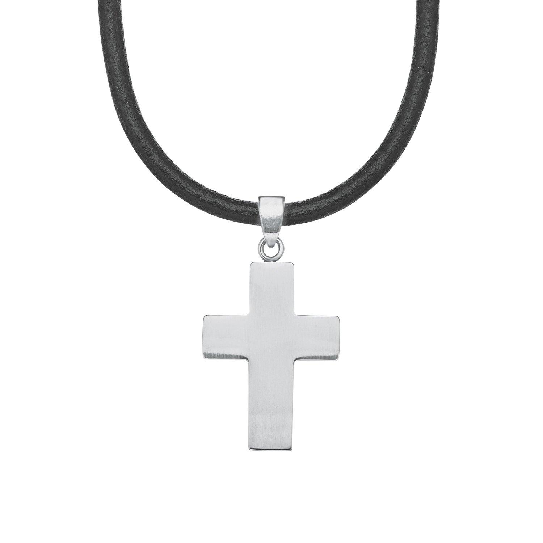 s.Oliver Kinder-Kette Jungen längenverstellbar mit Kreuz-Anhänger Edelstahl Leder 40 + 3 cm 2018850