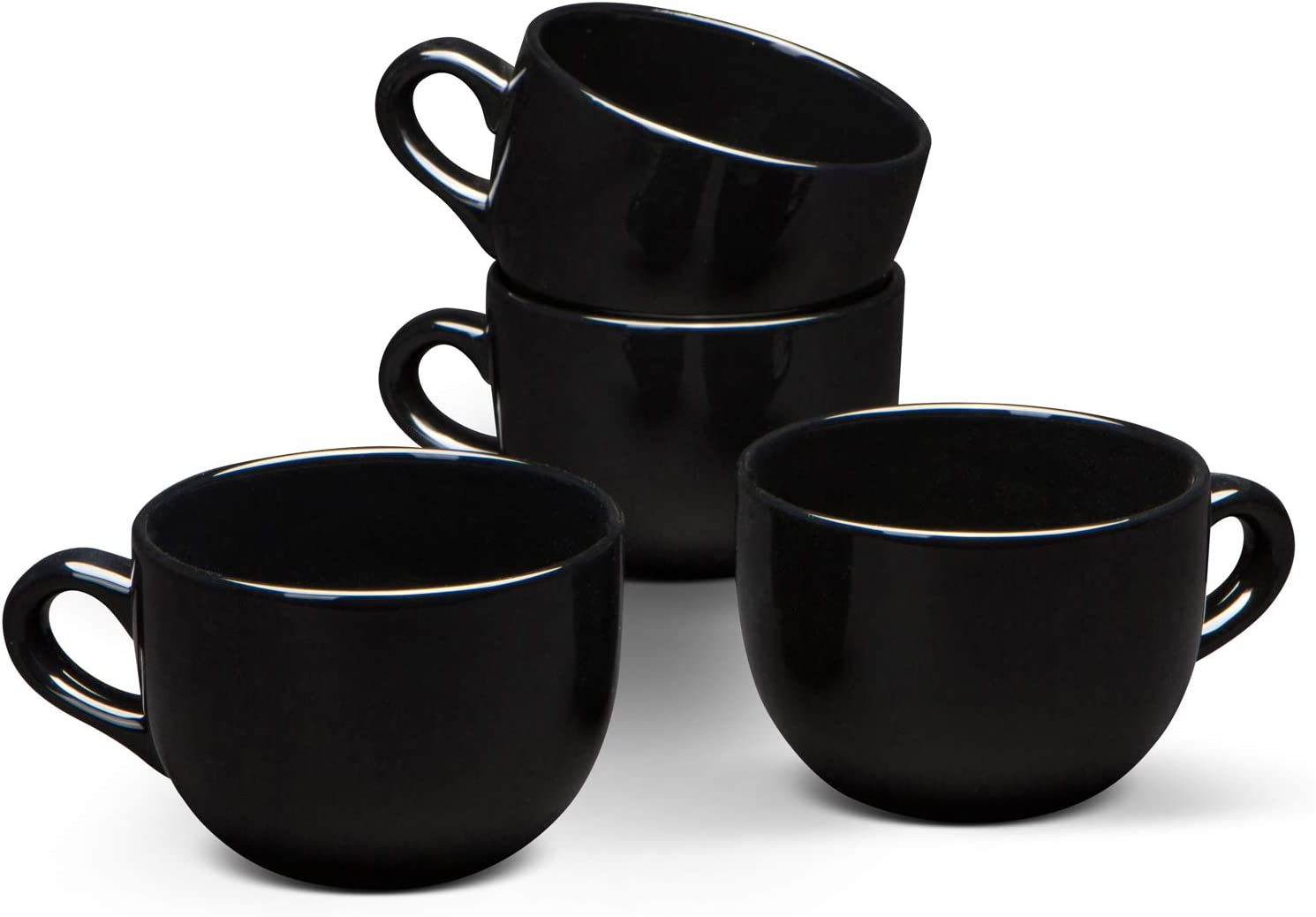 Serami 22oz Black Ceramic Large Soup or Cappuccino Bowl Mugs with Thick Walls, Set of 4