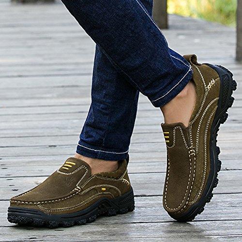 EnllerviiD Men Soft Moc Toe Slip On Loafers Wide Oxfords Leather Dress Working Shoes 3105 Dark Brown hf1dl4Nx