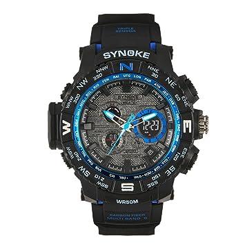 ecosin® Función Multi militares Digital LED cuarzo reloj para la práctica de deportes (resistente al agua correa de silicona cristal doble digital ...