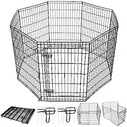 "Yescom 36"" Pet Dog Playpen Exercise Fence Cage Kennel Play Pen with Door 8 Panel Outdoor Indoor"