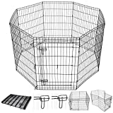 Cheap Yescom 36″ Tall Pet Dog Playpen Foldable Metal Exercise Fence Cage Kennel with Door 8 Panel Outdoor Indoor