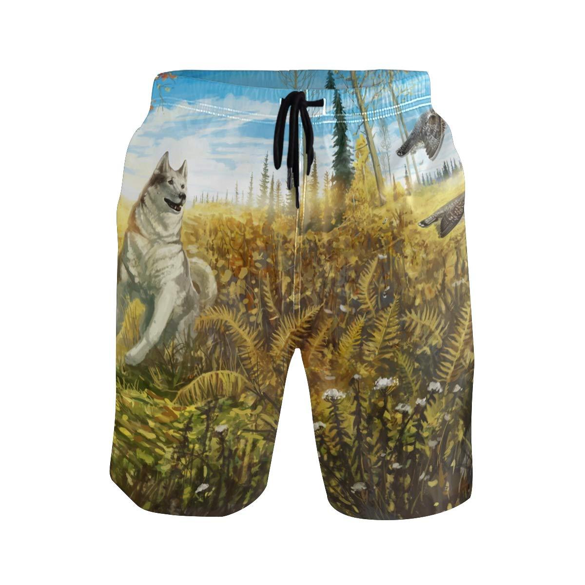 Mens Beach Swim Trunks Forest Bird Dog Boxer Swimsuit Underwear Board Shorts with Pocket