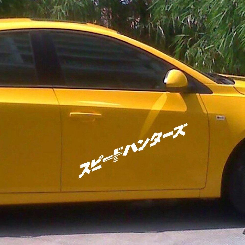 Color : White Stickers Home Giapponese JDM Speedhunter Car Sticker Faro Hood Decalcomanie Riflettente Decor per Notebook Skateboard Snowboard Bagagli Valigia MacBook Car Paraurti Auto ☆ Nero