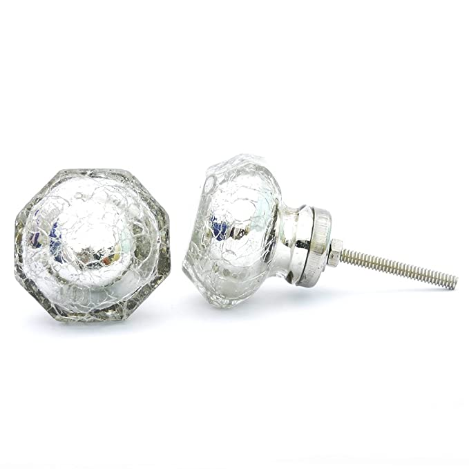 Casa Decor Pack Of 6 Glass Crackle Silver Decorative Door Knobs