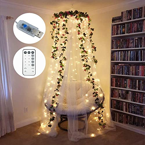 LoveNite Curtain String Lights 300 LED Window String Fairy Lights USB Power with Remote for Christmas Halloween Wedding Party Indoor Outdoor Home Decor Yellow White