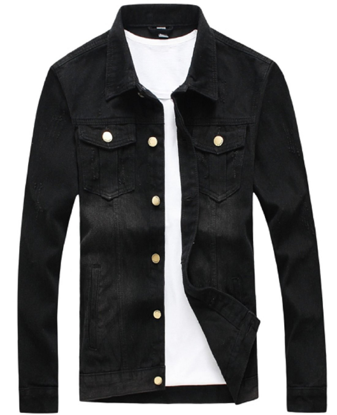 Olrek Men's Casual Wear Cotton Denim Jacket(Black,L Size)