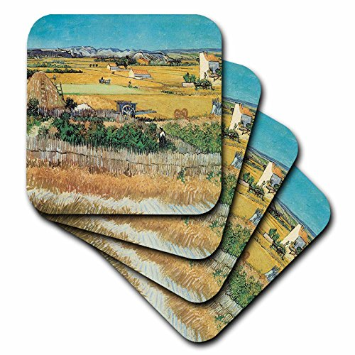 3dRose CST_128131_3 Harvest Landscape by Vincent Van Gogh Ceramic Tile Coasters, Set of 4 ()