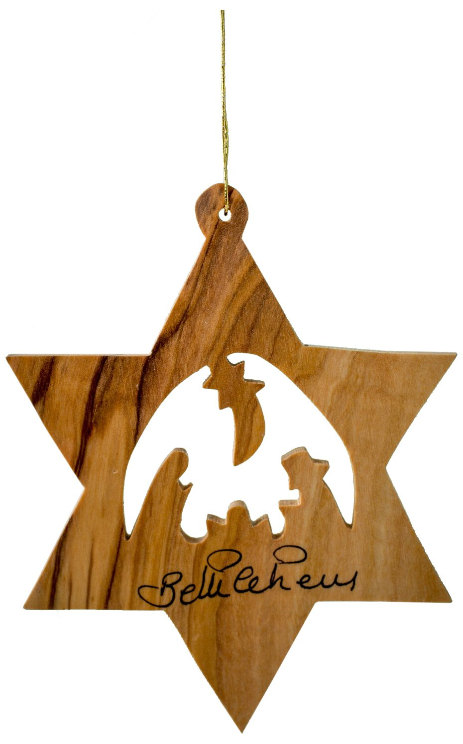 Earthwood Olive Wood Star of David with Nativity Ornament