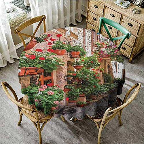 Summer Table Cloths Tuscan Decor,Street View of a Small Renaissance Town with Floral Porches and Rock Houses Mediterranean Art,Multi D 54