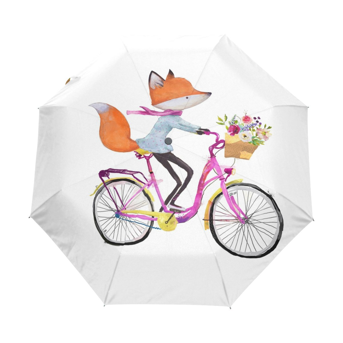 bcf54ca86e well-wreapped ALAZA Cute Fox on Bicycle Watercolor 3 Folds Auto Open Close  Anti-