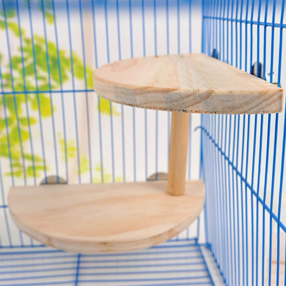 kathson 2 Level Platform for Chinchilla,Natural Wooden Cage Accessories Hamster Mouse Gerbil Rats Small Animals Lookout Platform by kathson
