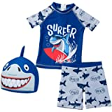 CJMJXPH Baby and Toddler Boys' 3-Piece Swimsuit Set Kids Bathing Suit Swimwear with Hat Surfing Suit UPF 50+ FBA