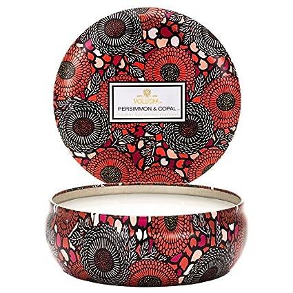 Amazoncom Voluspa Japonica Persimmoncopal 3 Wick Candle Tin Home