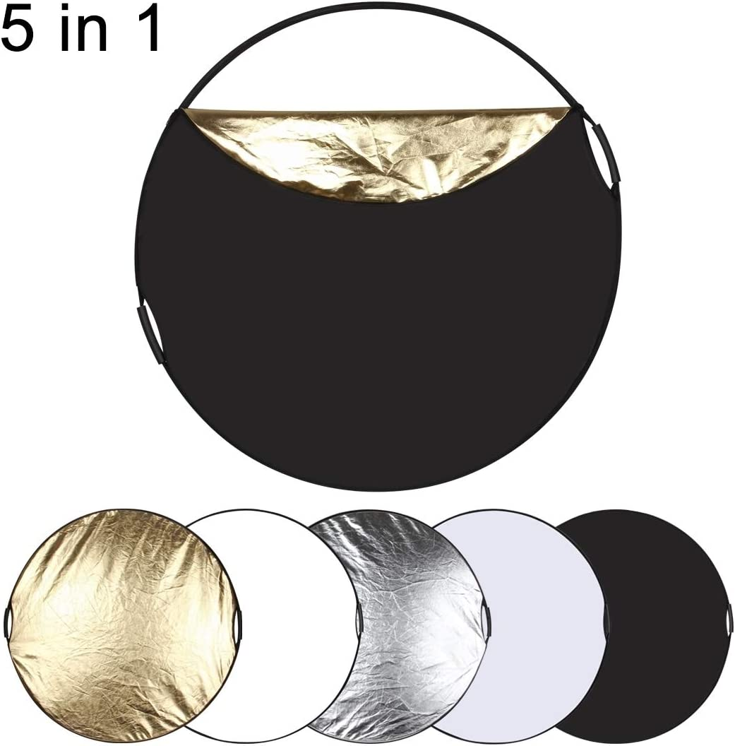 Silver//Translucent//Gold//White//Black Folding Photo Studio Reflector Board Durable CAOMING 110cm 5 in 1 Color : Color2