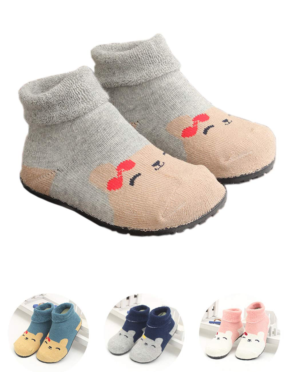 Baby Boys Girls Slipper Socks Floor Socks Walkers Shoes Rubber Bottom Soles Non Skid Non Water Protect Feet (Gray Bear, 5 1/2'')