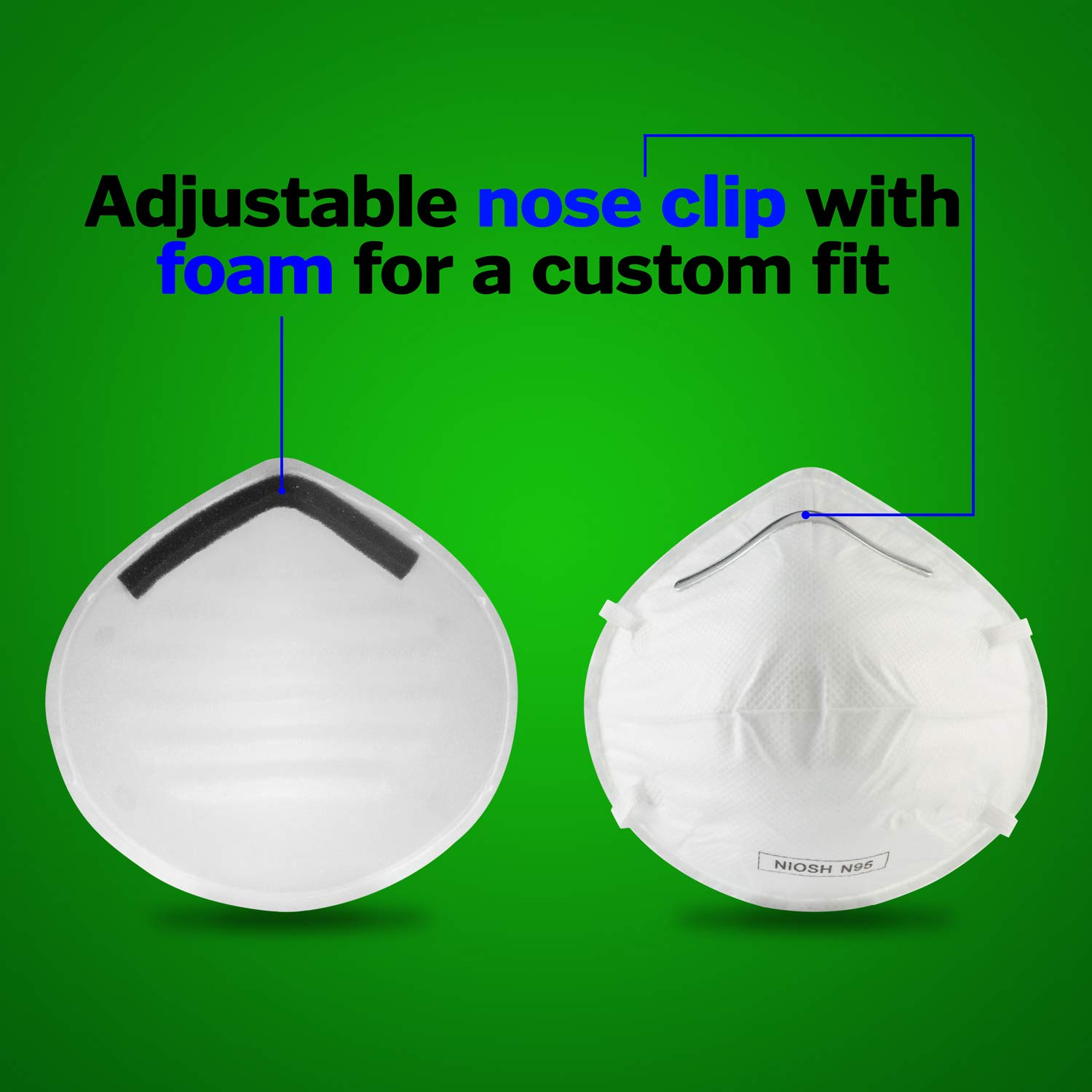 Disposable Dust Masks respirators for face - NIOSH Certified - Safety N95 Respirator Mask (20 pack) for Cleaning, Anti Pollution, Surgical operations & more by WeBreathe (Image #4)