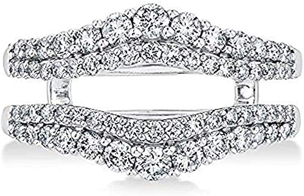 dazzlingjewelrycollection Double Solitaire Enhancer Round 1.00ct Simulated CZ Diamonds Ring Guard Wrap Jacket 14k White Gold Plated