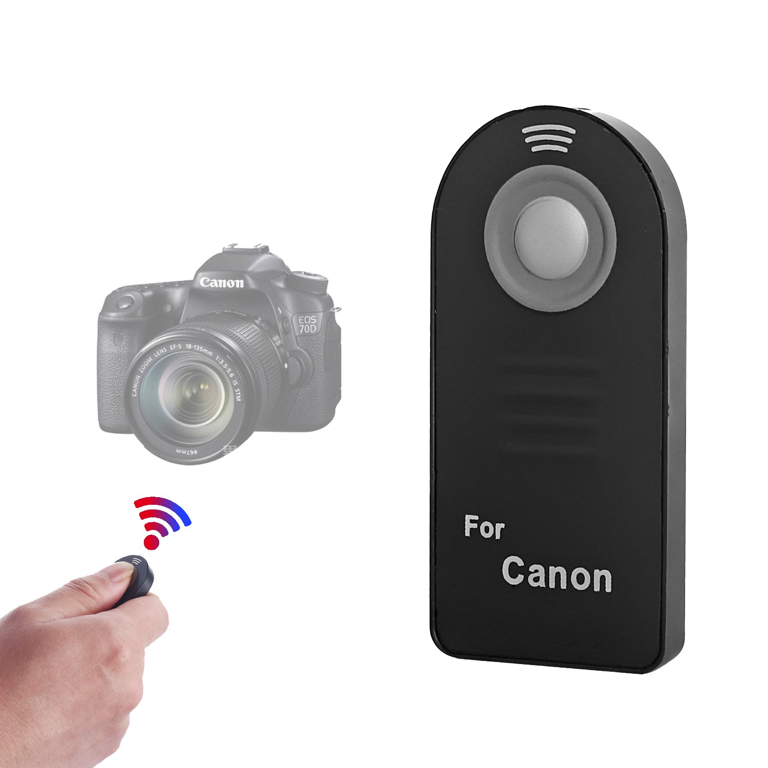 IR Wireless Shutter Remote Control Compatible with Canon EOS 6D Mark II, 5D Mark IV III II, 5DS 5DR, 7D Mark II, 77D 6D 7D 80D 70D 60Da 60D SL1 /Rebel T7i T6s T5i T4i T3i T2i T1i XSi XTi/M6 M5 M3 WAAO