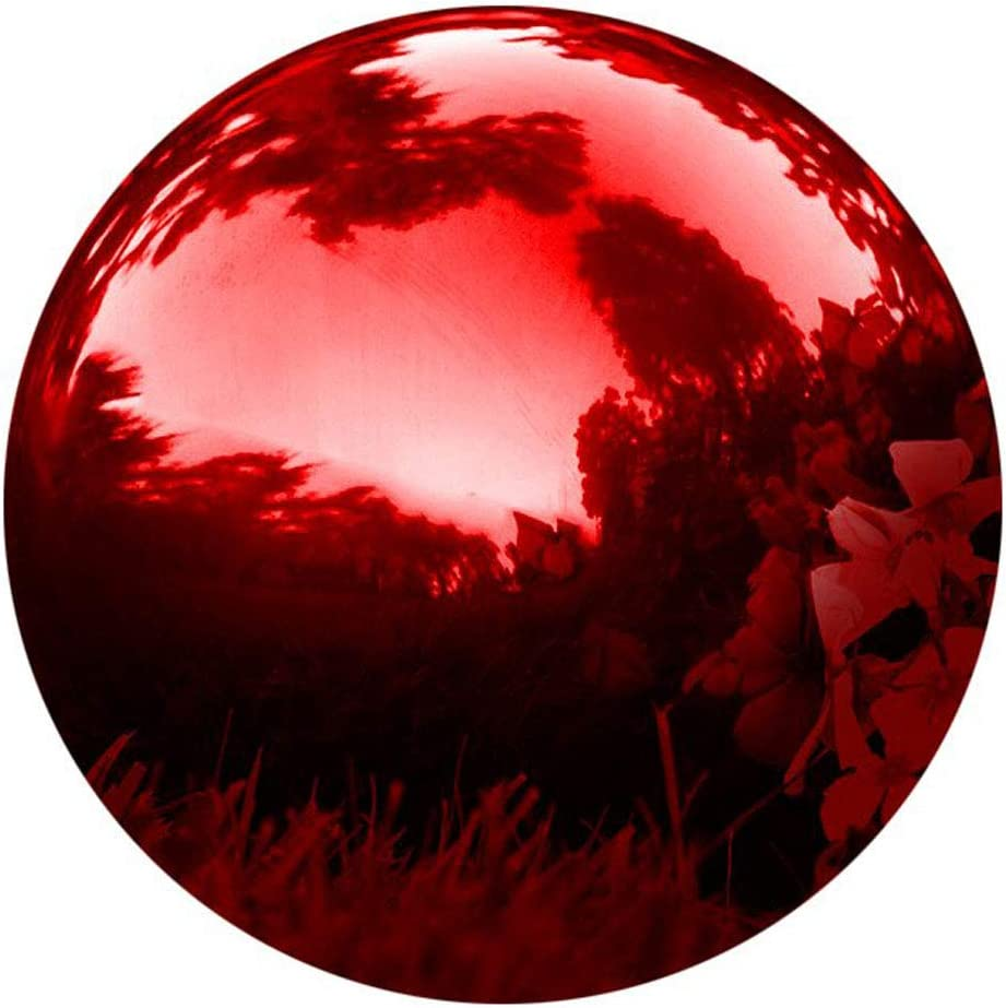 HomDSim 35cm/14inch Diameter Gazing Globe Mirror Ball,Red Stainless Steel Polished Reflective Smooth Garden Sphere,Colorful and Shiny Addition to Any Garden or Home