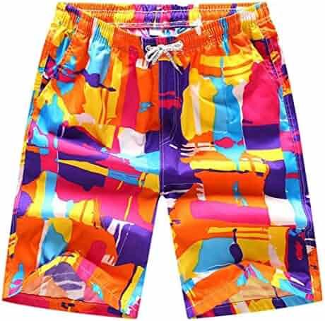 Bigbarry Mens Waist Drawstring Plain Flat Front Beach Shorts Swim Trunks