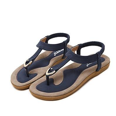 3660c8bff Yuan Ladies Women Bohe Fashion Flat Large Size Casual Sandals Beach Shoes  Pink Blue