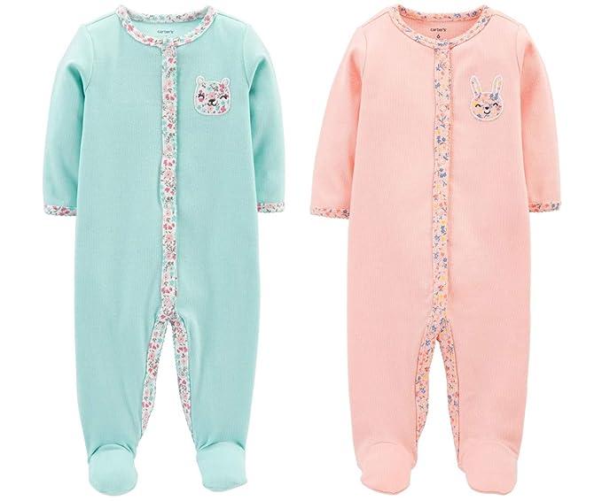 bae722244 Carter s Set of 2 Baby Girls Cotton Footed Sleeper Sleep and Play ...