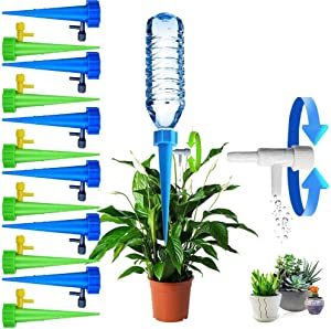 Plant Self Watering Spikes Indoor Outdoor Plastic Bottle Garden Plant Drip Irrigation Automatic Device Spike System Plants Watering Bulbs Globes with Drip Adjustable Control Valve 12 Pack