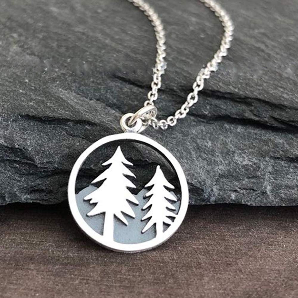 """Sterling Silver Tree and Mountain Pendant Necklace, 18"""""""