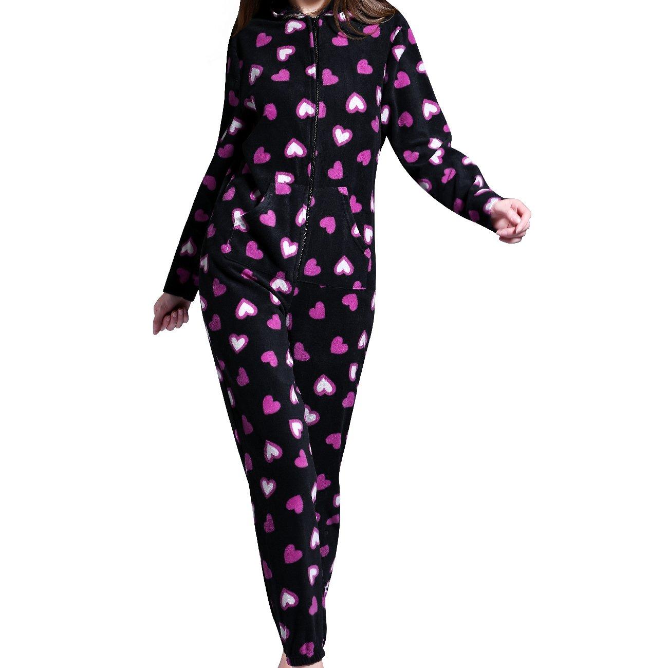Airee Fairee Damas para mujer con capucha Onesie todo en pijama mono una ropa de dormir