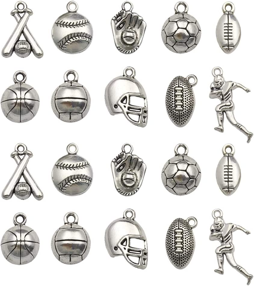 About 75pcs 100g Wholesale Bulk Lots Jewelry Making Charms Mixed Tibetan Silver Ball Games Sports Basketball Charms Pendants DIY for Necklace Bracelet Jewelry Making and Crafting SM324