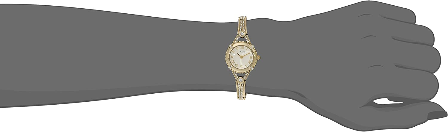 GUESS Women's Stainless Steel Petite Vintage Inspired Crystal Bracelet Watch Gold Tone