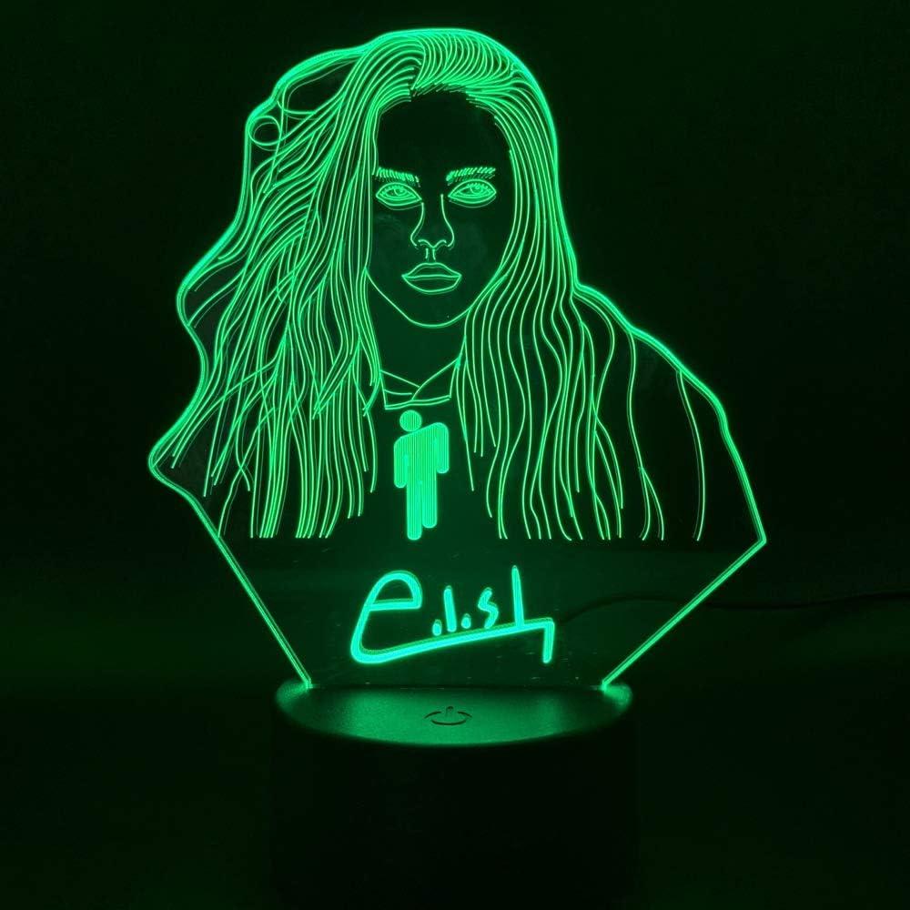 3d night light Led Night Light Billie Eilish Figure Home Bedroom Decorative Lamp Fans Gift Nightlight Celebrity 3D Illusion Lamp FFFPANDA