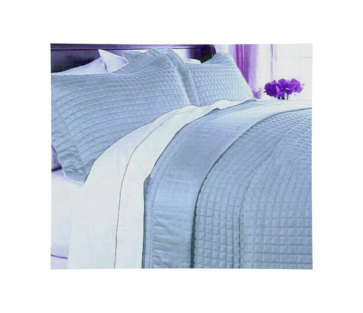 Modern 400tc Egyptian Cotton Solid Blue Bedding Quilt Coverlet Set Full/Queen
