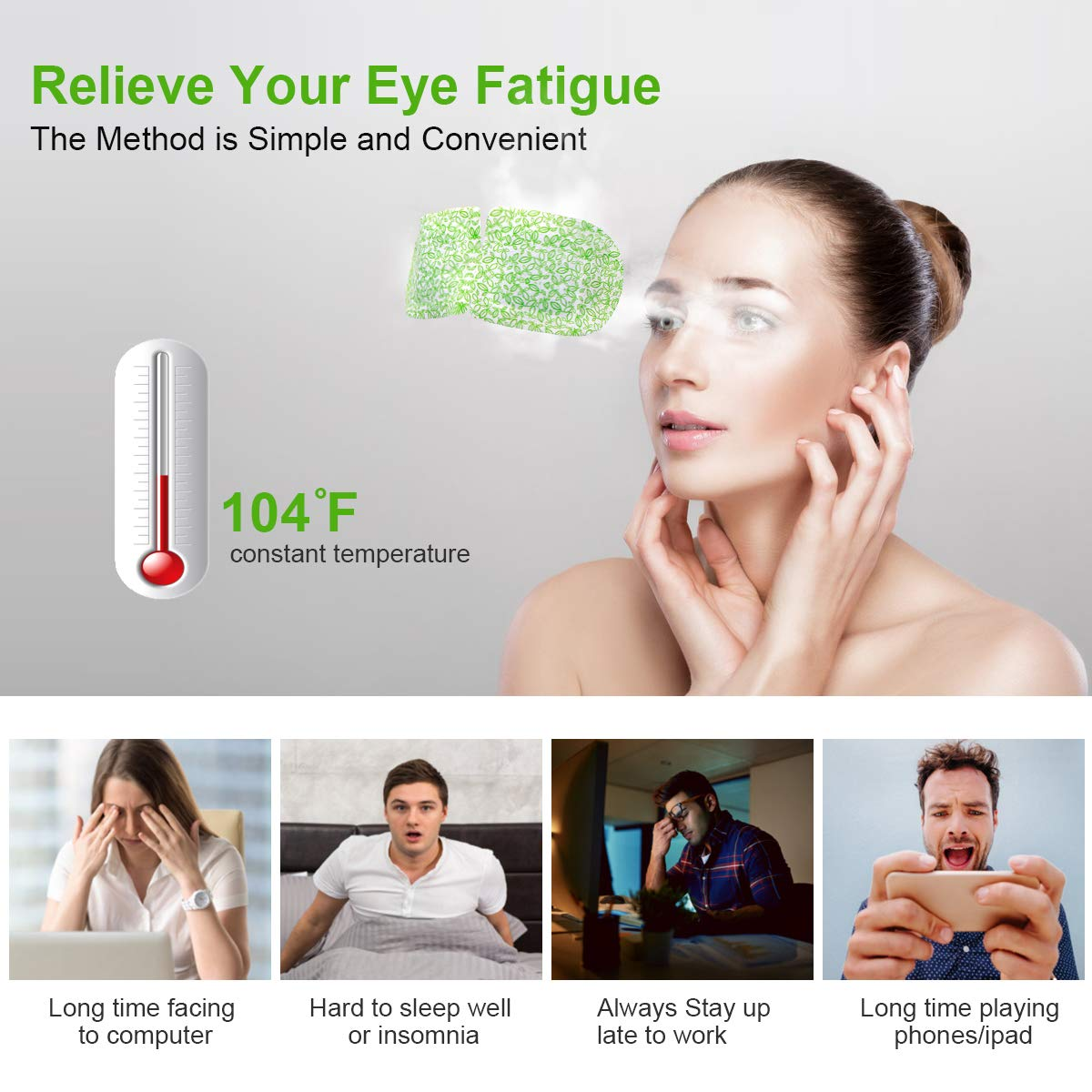 Steam Eye Masks, ProCIV 16PCS Warm Eye Mask, Hot Lavender Sleep Eye Mask for Dry Puffy Fatigue Eyes