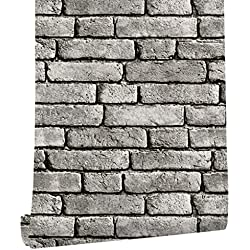 "HaokHome 130105 Vintage Faux Brick Textured Wallpaper Roll Gray/Black/White 3D Vinyl Home Kitchen Bathroom Decoration 20.8"" x 33ft"